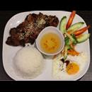 Spinning roast pork shoulder & rice