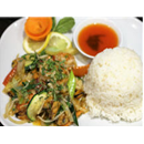 Seafood and vegetables on rice